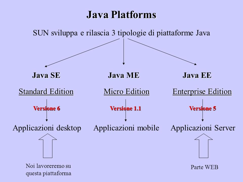 Java Platforms SUN sviluppa e rilascia 3 tipologie di piattaforme Java