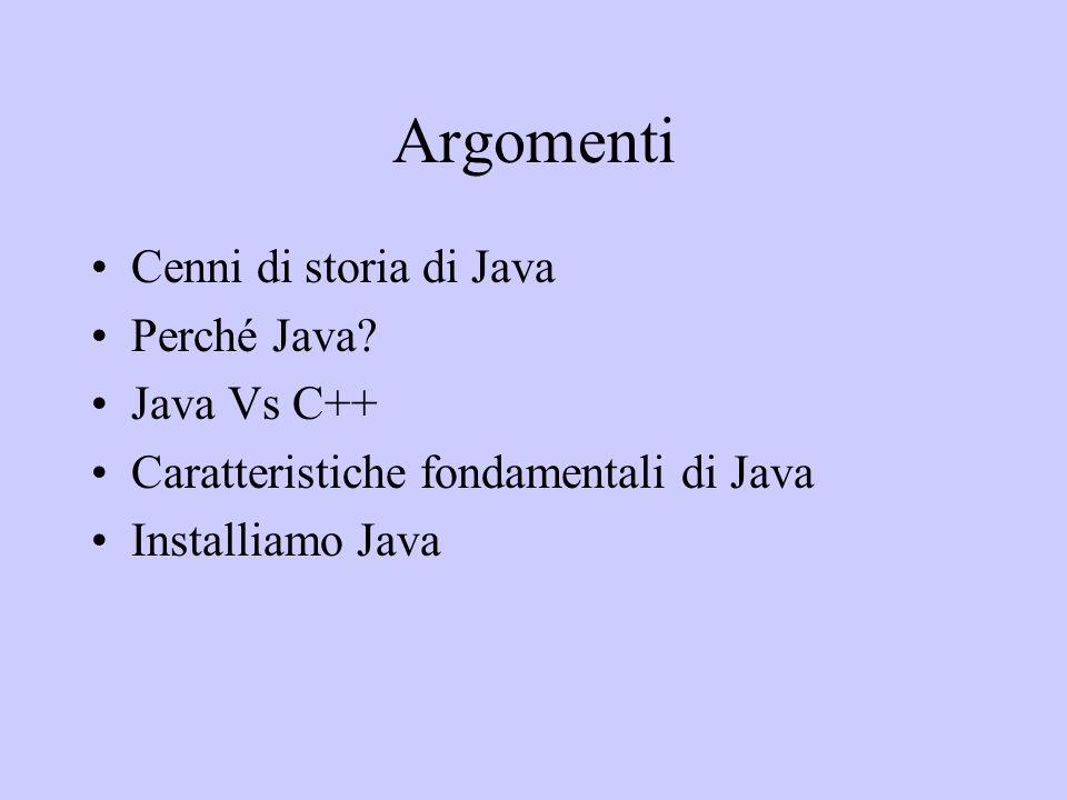 Argomenti Cenni di storia di Java Perché Java Java Vs C++