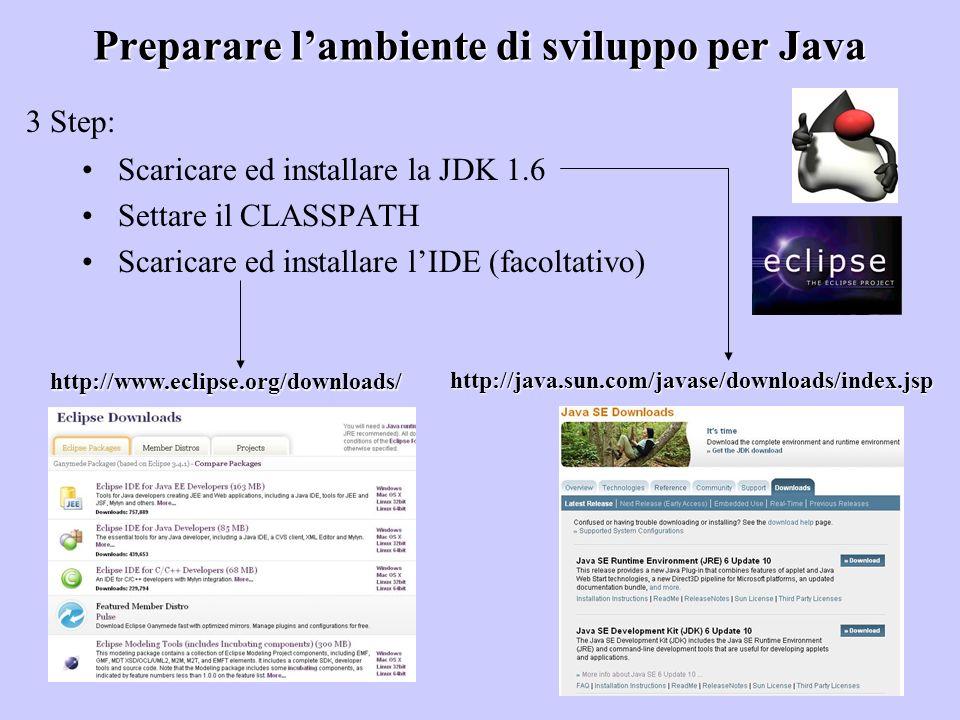 Preparare l'ambiente di sviluppo per Java