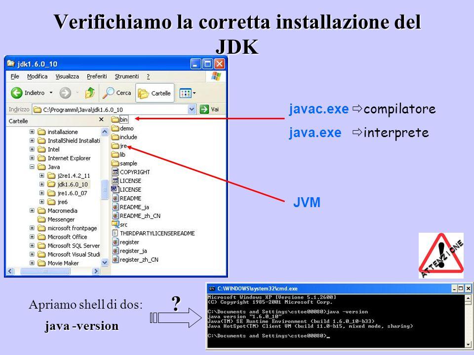 Verifichiamo la corretta installazione del JDK