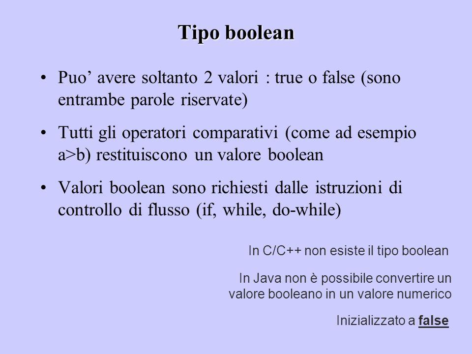 Tipo boolean Puo' avere soltanto 2 valori : true o false (sono entrambe parole riservate)