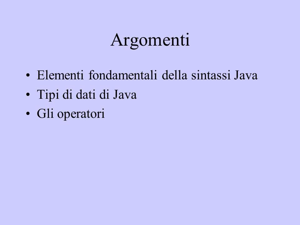 Argomenti Elementi fondamentali della sintassi Java