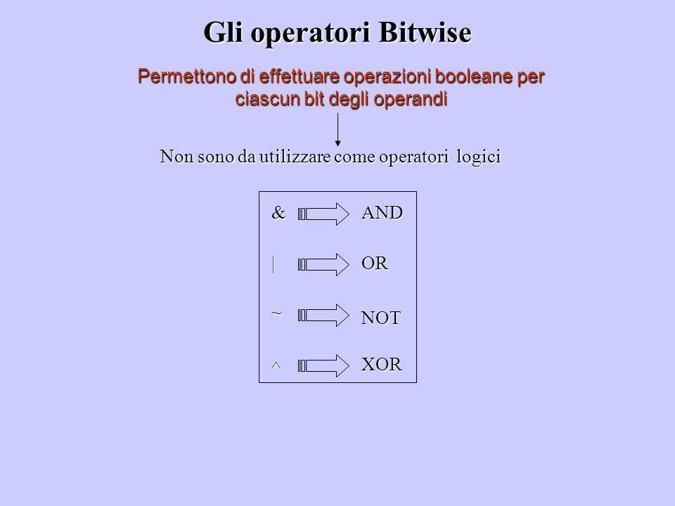 Non sono da utilizzare come operatori logici