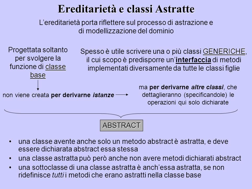 Ereditarietà e classi Astratte