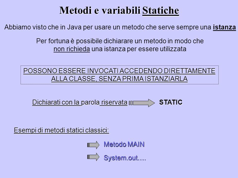 Metodi e variabili Statiche