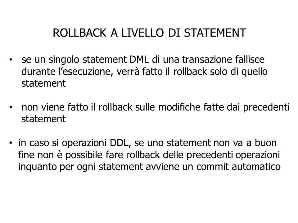 ROLLBACK A LIVELLO DI STATEMENT