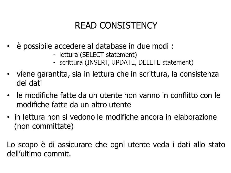 READ CONSISTENCY è possibile accedere al database in due modi :