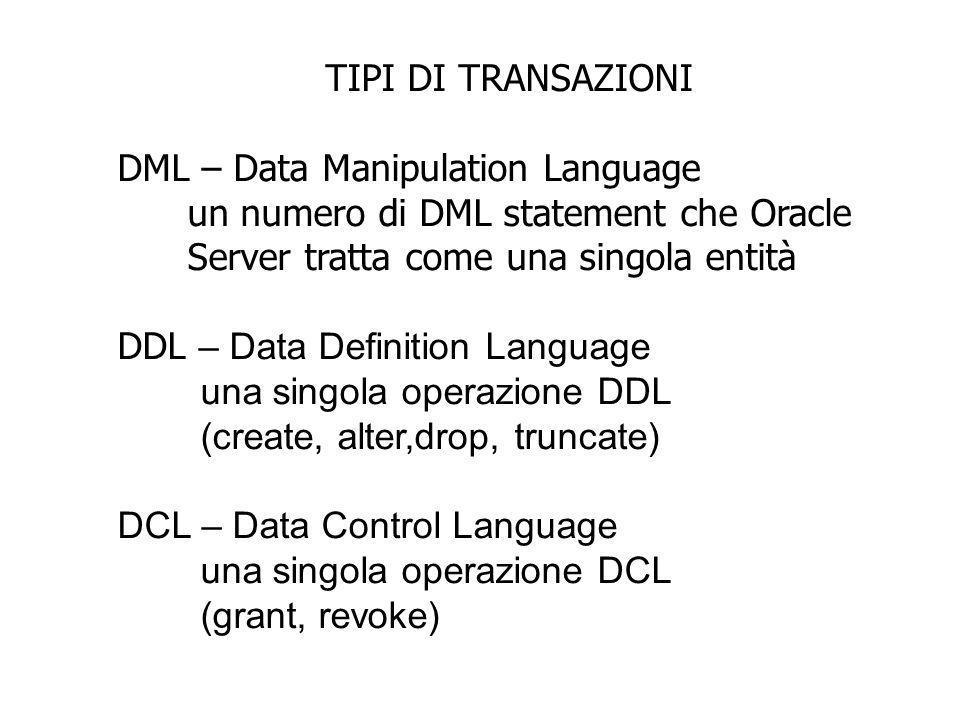 TIPI DI TRANSAZIONI DML – Data Manipulation Language. un numero di DML statement che Oracle. Server tratta come una singola entità.