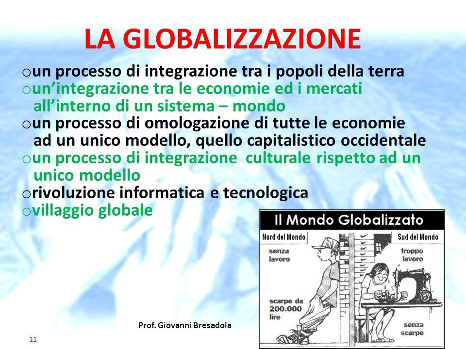LA GLOBALIZZAZIONE un processo di integrazione tra i popoli della terra. un'integrazione tra le economie ed i mercati.