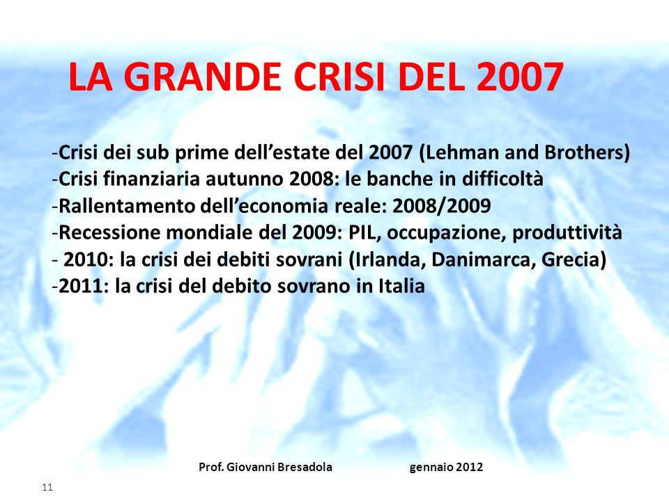 LA GRANDE CRISI DEL 2007 Crisi dei sub prime dell'estate del 2007 (Lehman and Brothers) Crisi finanziaria autunno 2008: le banche in difficoltà.