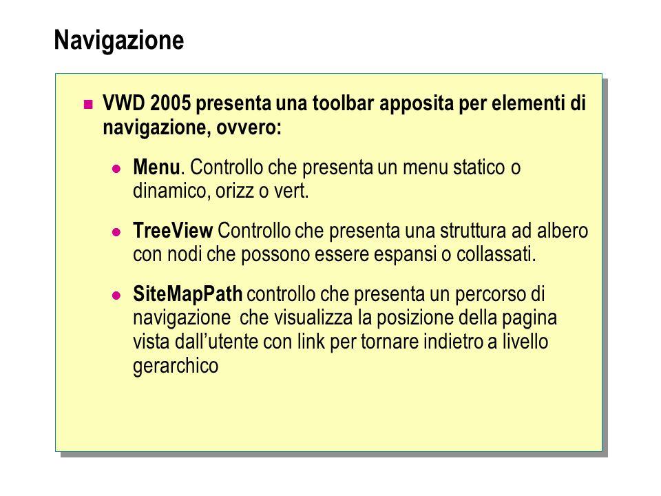 NavigazioneVWD 2005 presenta una toolbar apposita per elementi di navigazione, ovvero: