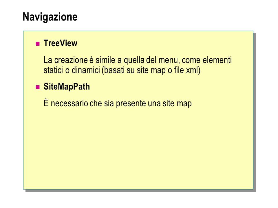 Navigazione TreeView La creazione è simile a quella del menu, come elementi statici o dinamici (basati su site map o file xml)