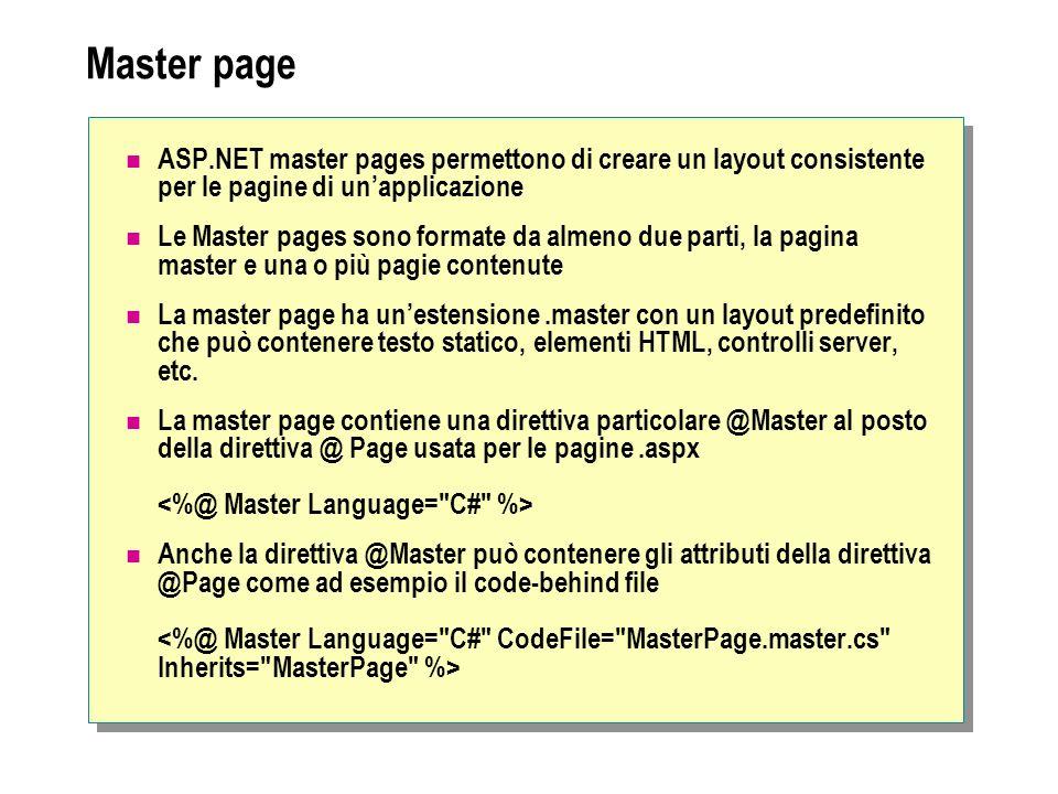 Master page ASP.NET master pages permettono di creare un layout consistente per le pagine di un'applicazione.