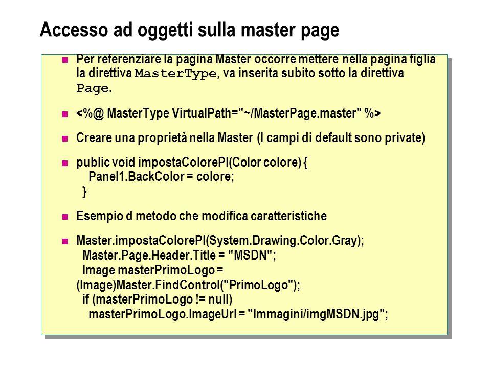 Accesso ad oggetti sulla master page