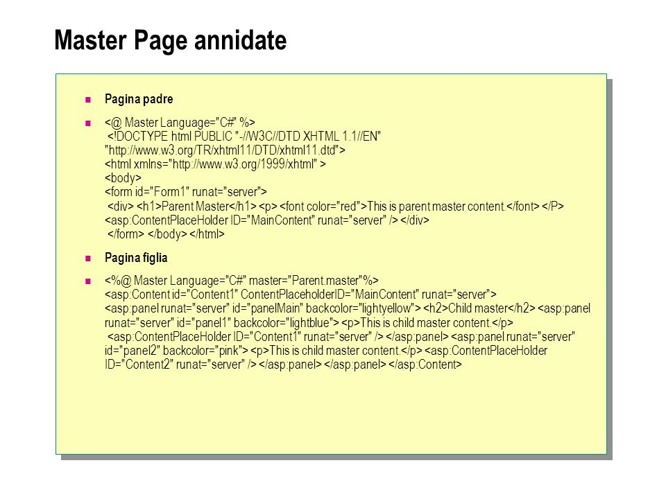 Master Page annidate Pagina padre