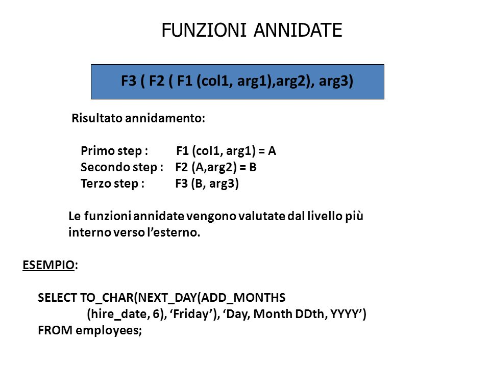 F3 ( F2 ( F1 (col1, arg1),arg2), arg3)