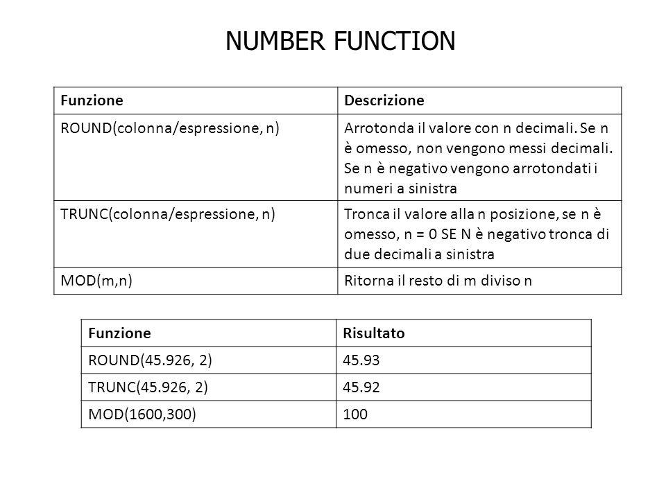 NUMBER FUNCTION Funzione Descrizione ROUND(colonna/espressione, n)