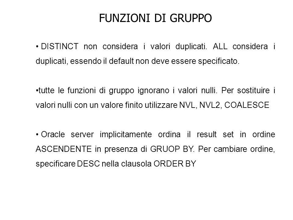 FUNZIONI DI GRUPPO DISTINCT non considera i valori duplicati. ALL considera i duplicati, essendo il default non deve essere specificato.