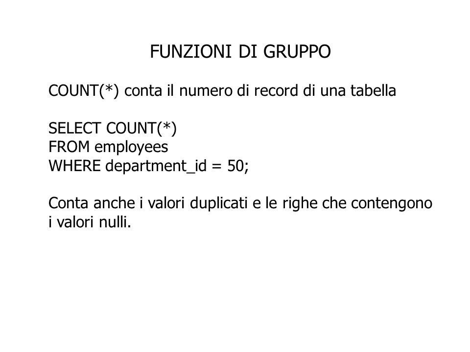 FUNZIONI DI GRUPPO COUNT(*) conta il numero di record di una tabella