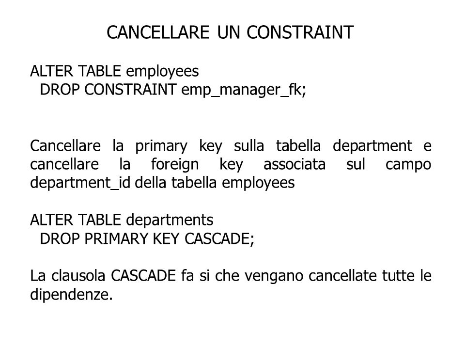 CANCELLARE UN CONSTRAINT