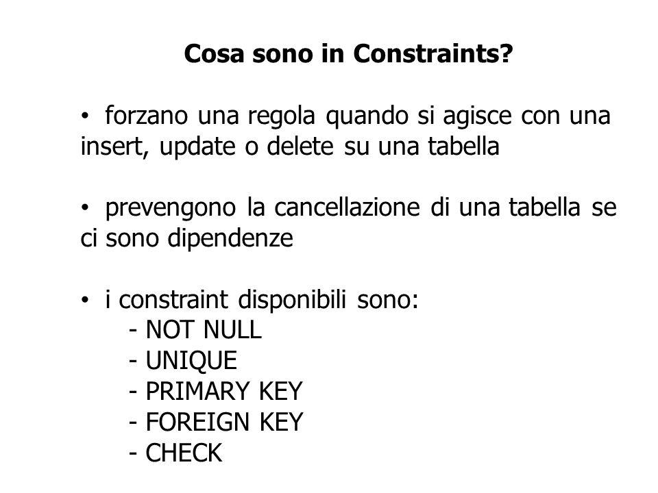 Cosa sono in Constraints