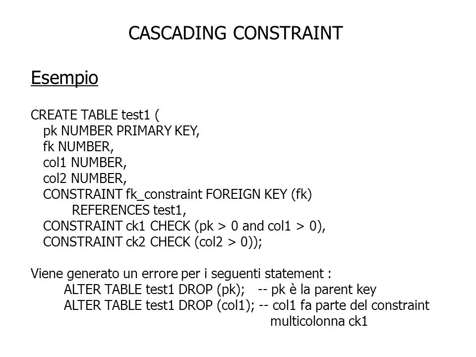 CASCADING CONSTRAINT Esempio CREATE TABLE test1 (