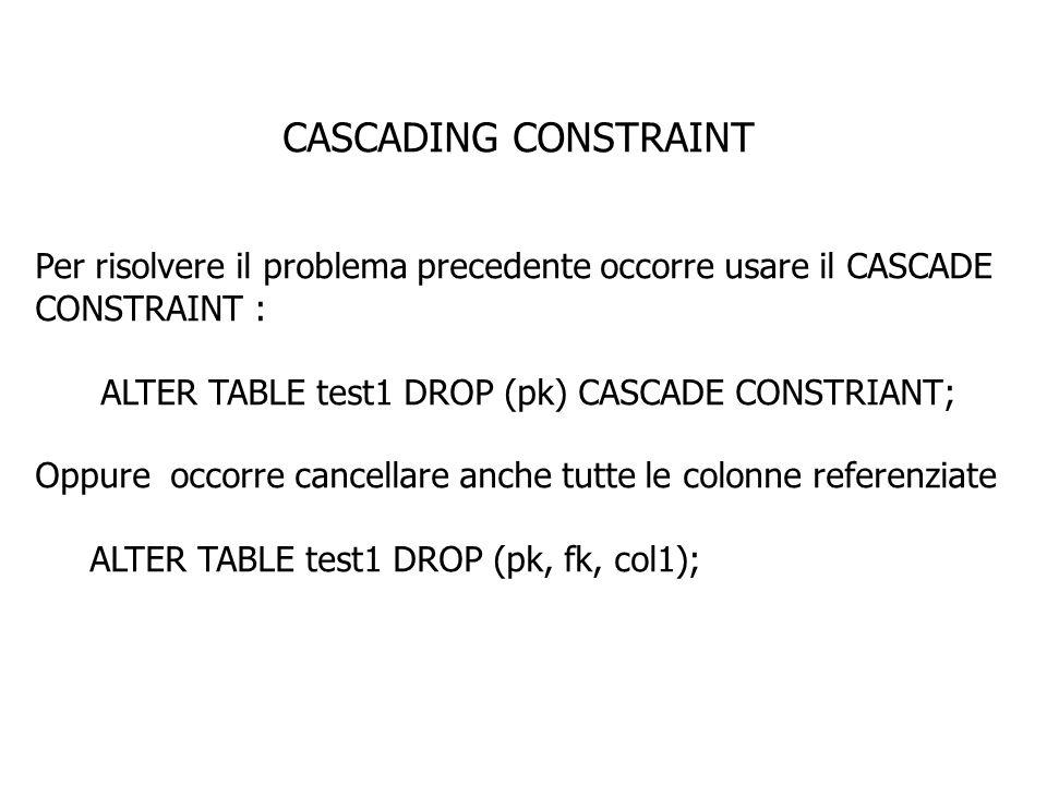 CASCADING CONSTRAINT Per risolvere il problema precedente occorre usare il CASCADE CONSTRAINT : ALTER TABLE test1 DROP (pk) CASCADE CONSTRIANT;