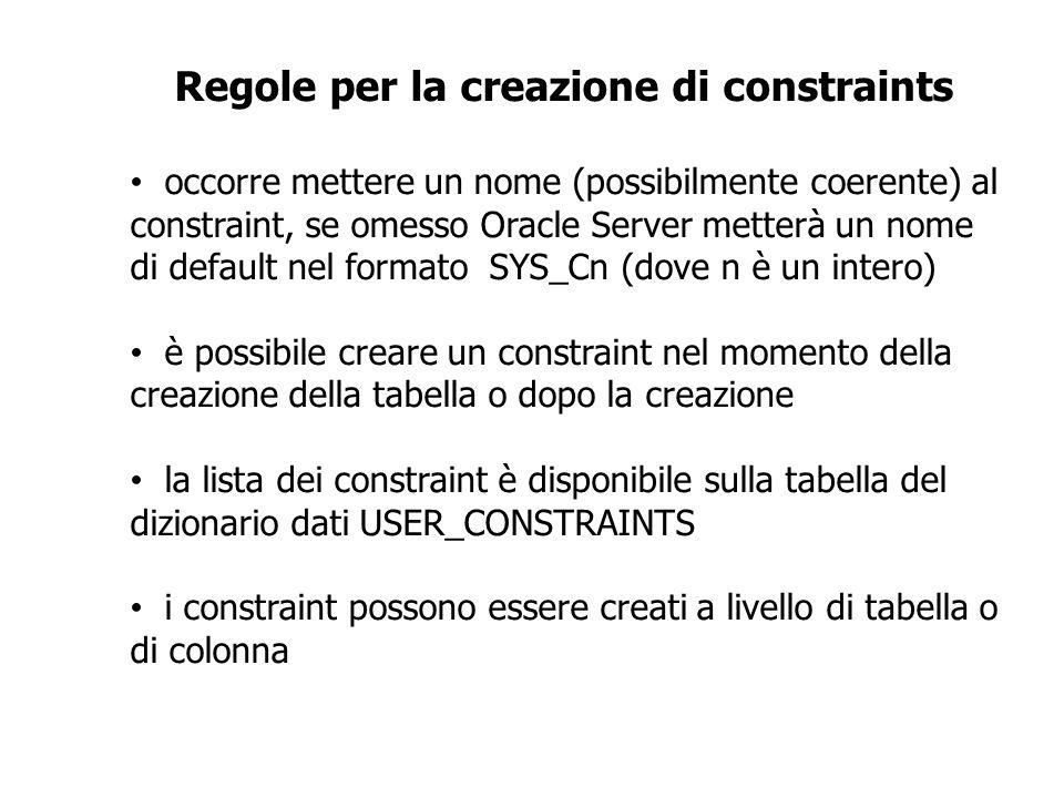 Regole per la creazione di constraints