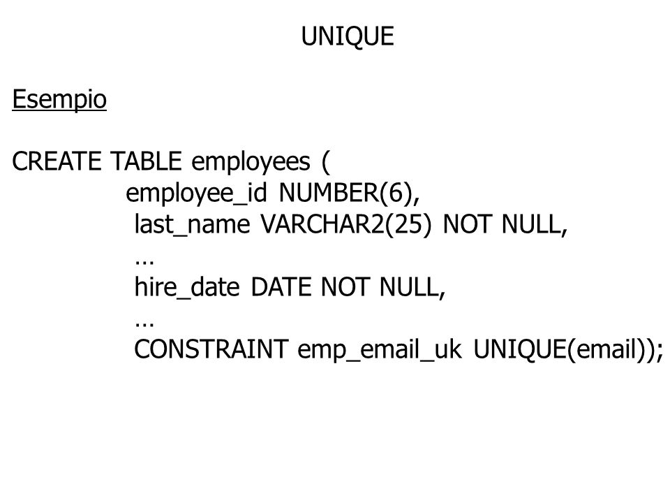 UNIQUE Esempio. CREATE TABLE employees ( employee_id NUMBER(6), last_name VARCHAR2(25) NOT NULL,