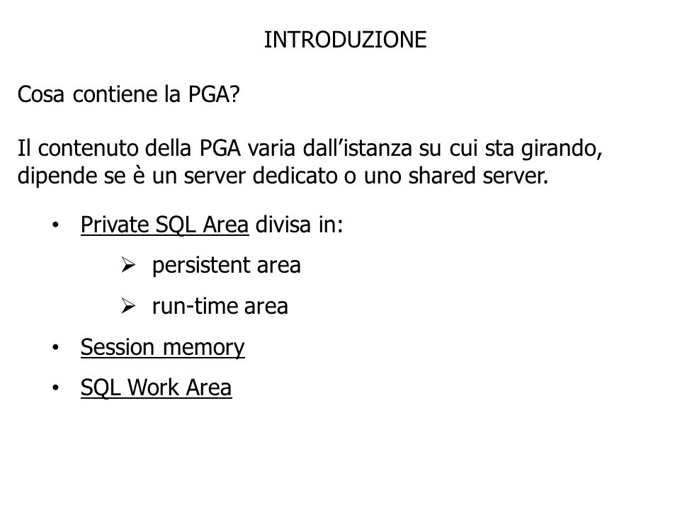 Private SQL Area divisa in: persistent area run-time area