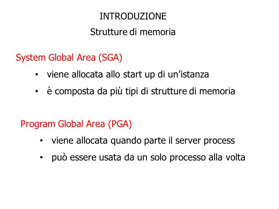 INTRODUZIONE Strutture di memoria. System Global Area (SGA) viene allocata allo start up di un'istanza.