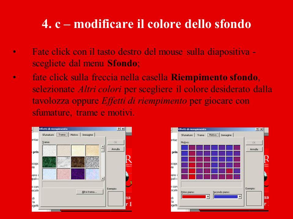 4. c – modificare il colore dello sfondo