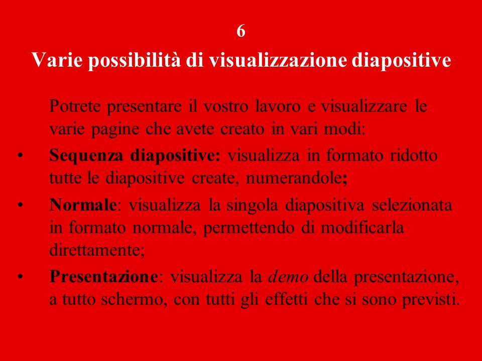 Varie possibilità di visualizzazione diapositive