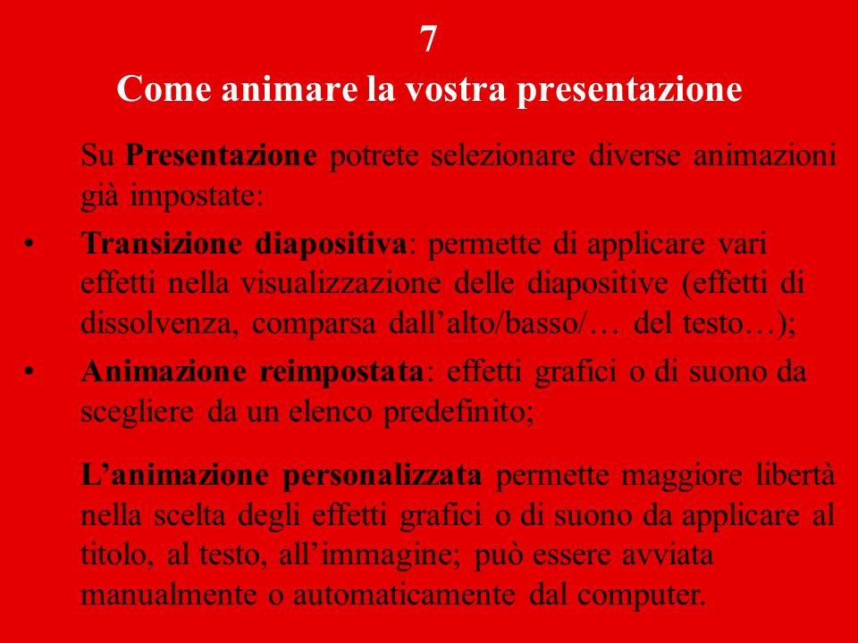 Come animare la vostra presentazione