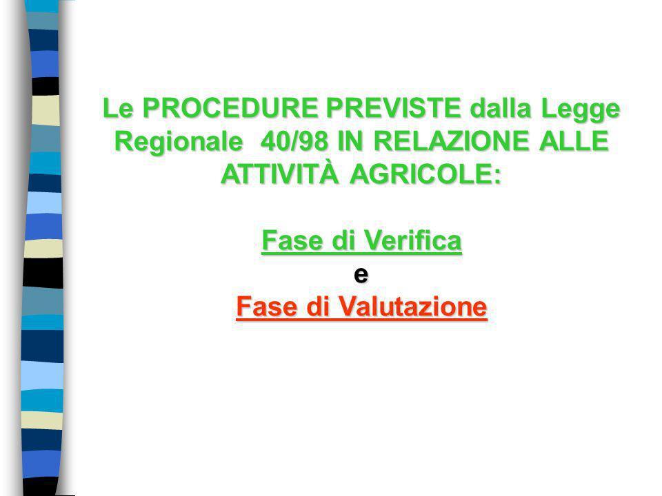 Le PROCEDURE PREVISTE dalla Legge Regionale 40/98 IN RELAZIONE ALLE ATTIVITÀ AGRICOLE:
