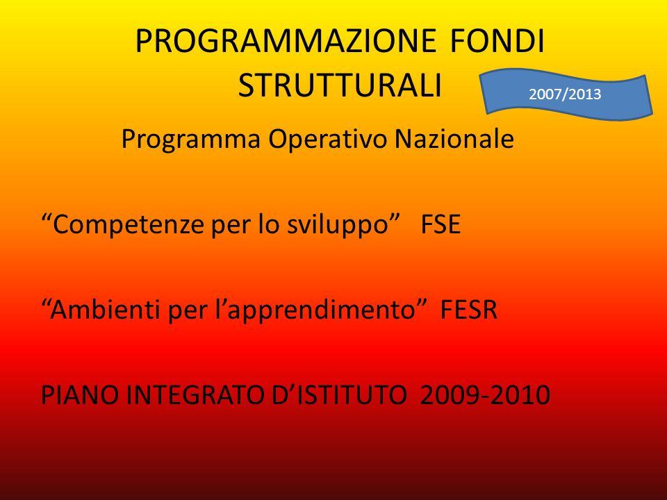 PROGRAMMAZIONE FONDI STRUTTURALI