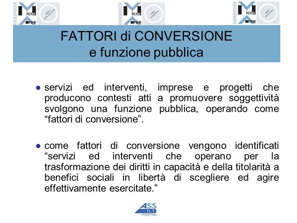 FATTORI di CONVERSIONE e funzione pubblica