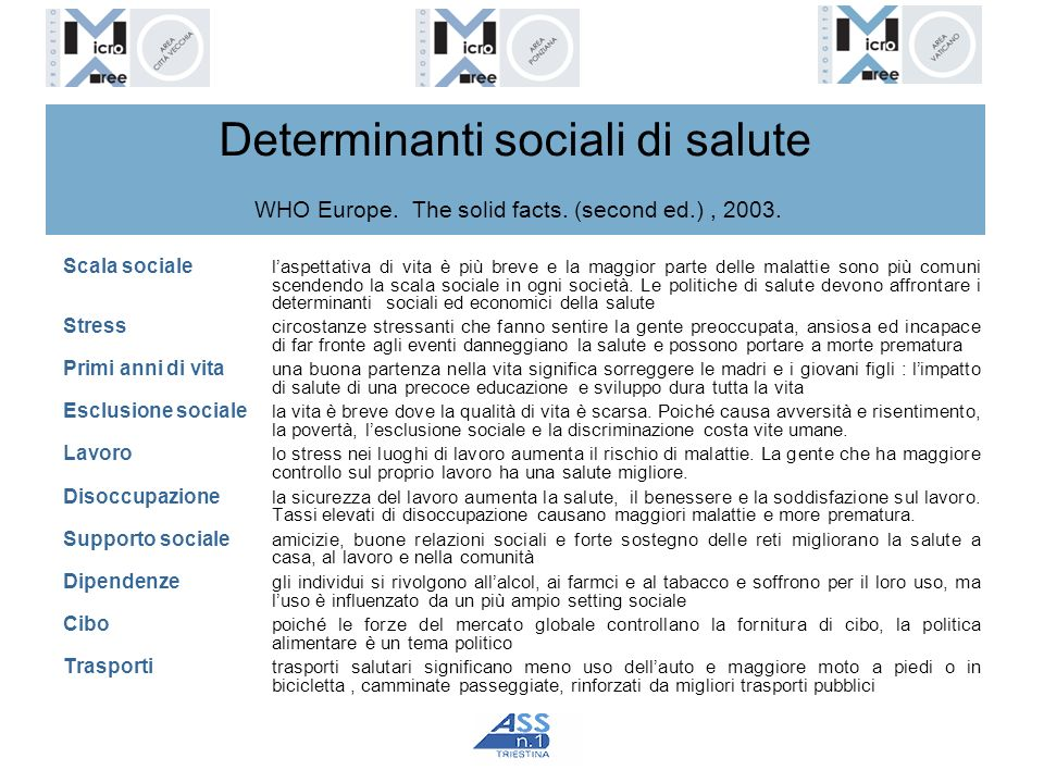 Determinanti sociali di salute WHO Europe. The solid facts. (second ed