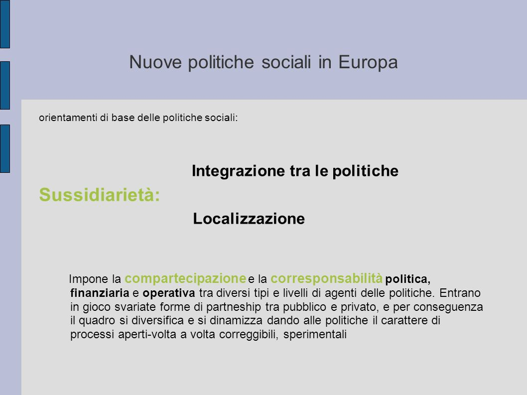 Nuove politiche sociali in Europa