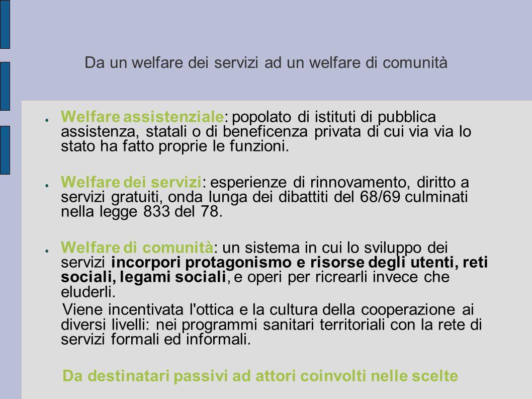 Da un welfare dei servizi ad un welfare di comunità