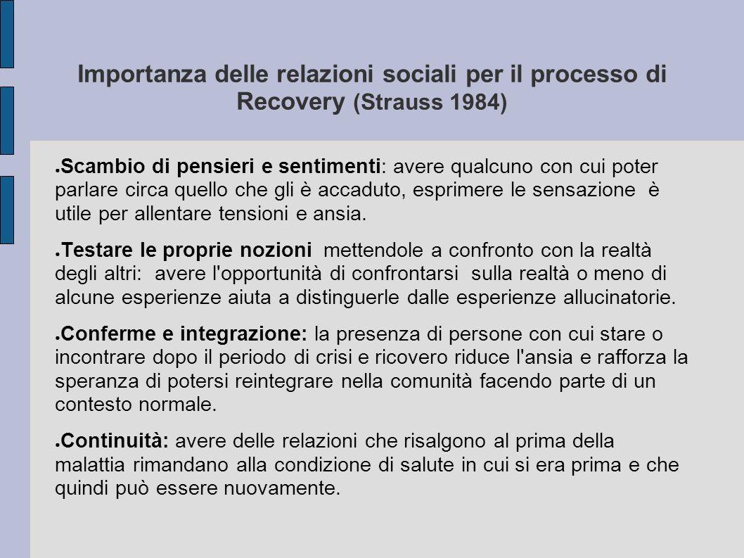 Importanza delle relazioni sociali per il processo di Recovery (Strauss 1984)