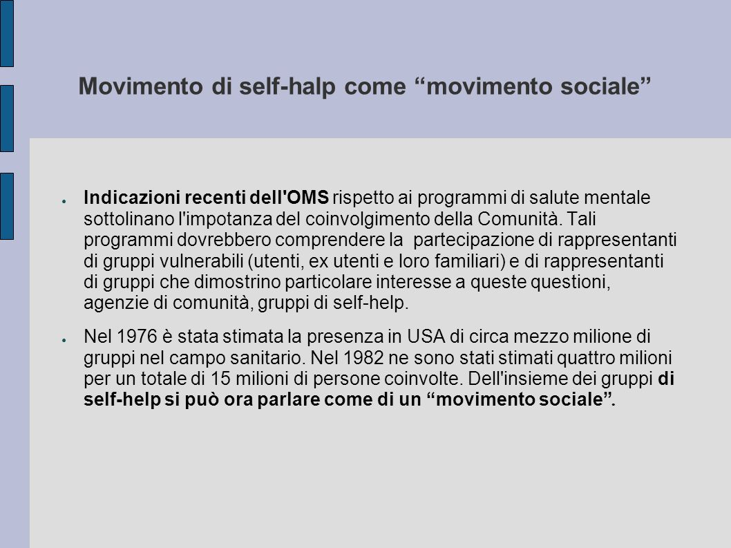 Movimento di self-halp come movimento sociale