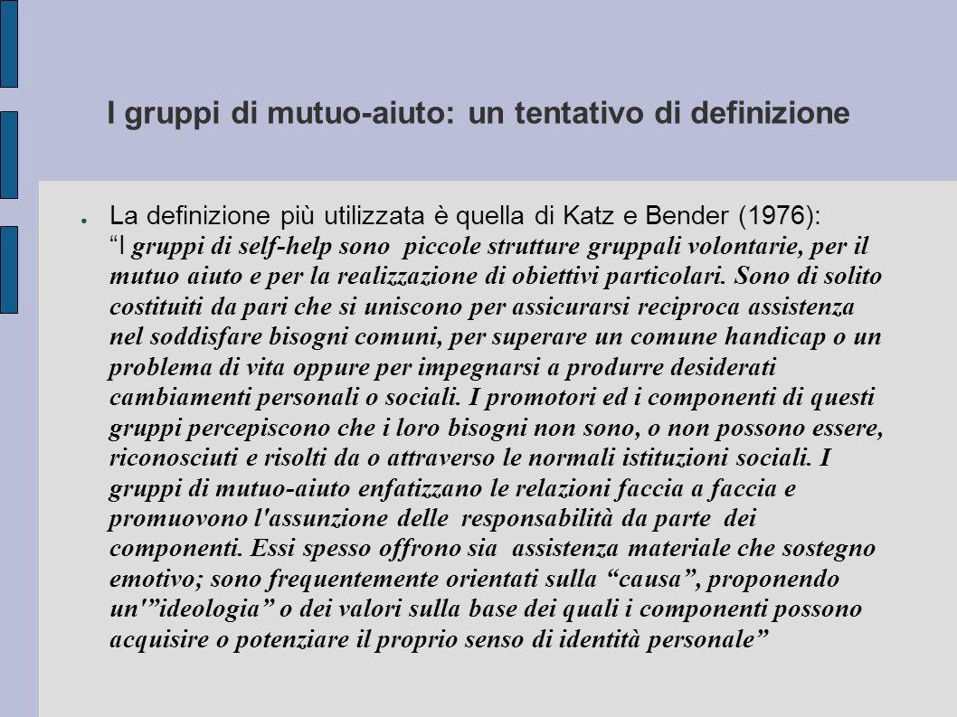 I gruppi di mutuo-aiuto: un tentativo di definizione
