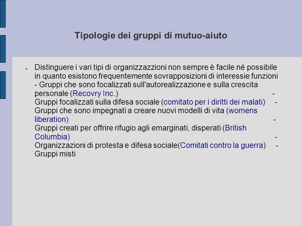 Tipologie dei gruppi di mutuo-aiuto