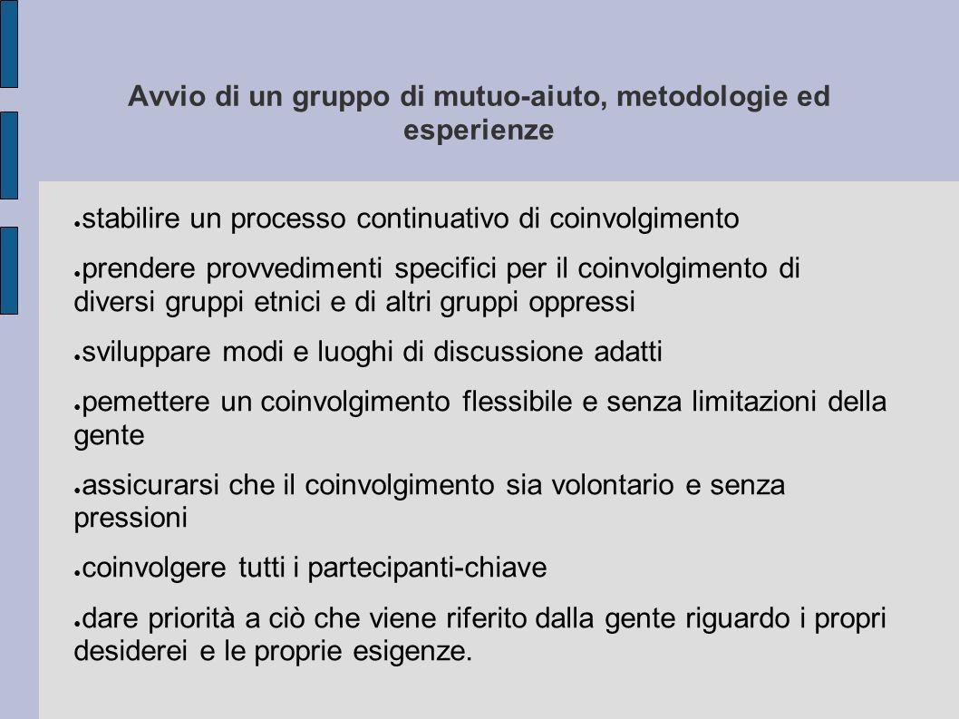 Avvio di un gruppo di mutuo-aiuto, metodologie ed esperienze