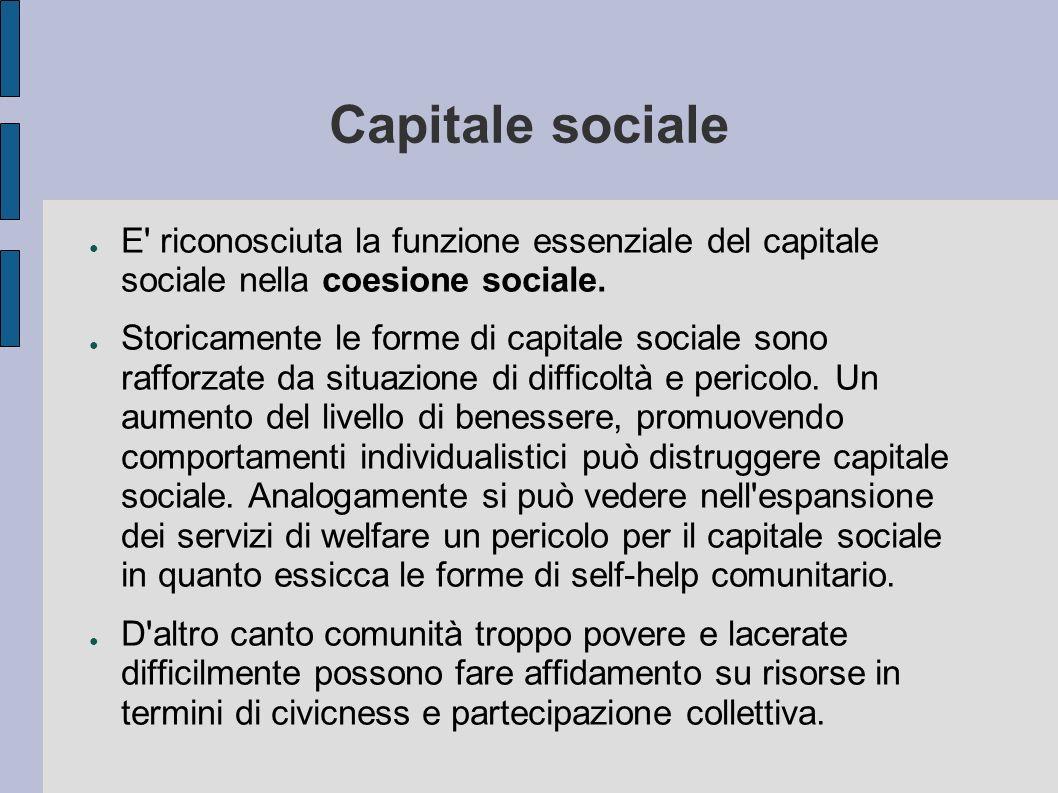 Capitale sociale E riconosciuta la funzione essenziale del capitale sociale nella coesione sociale.