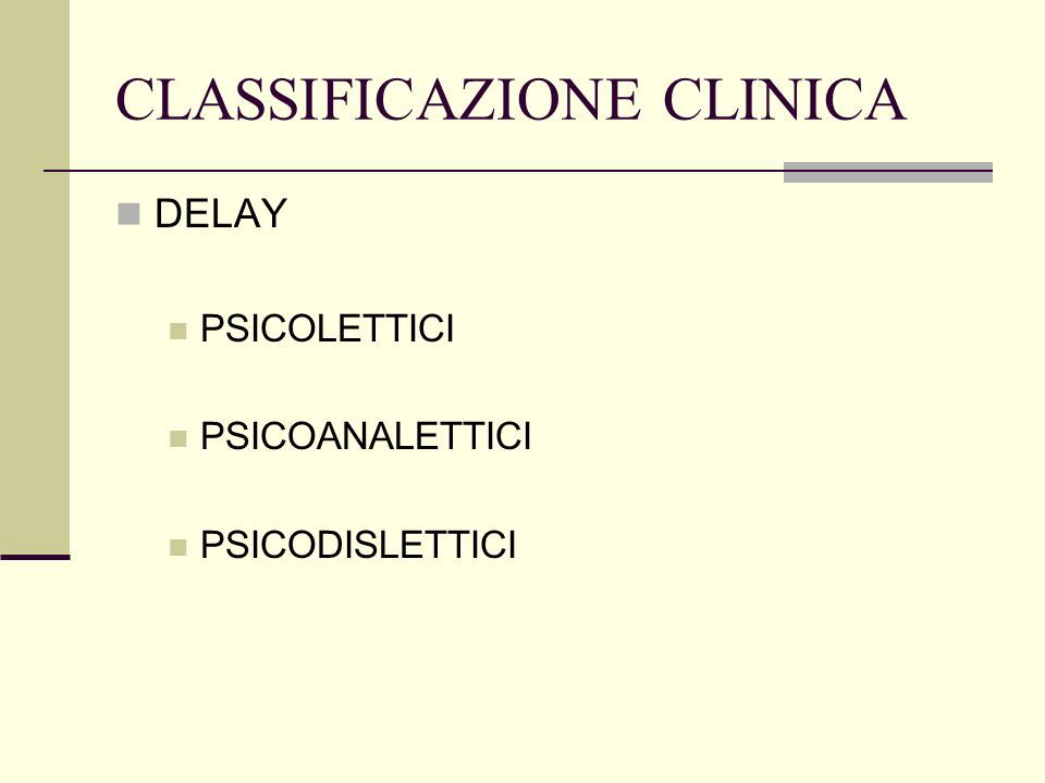 CLASSIFICAZIONE CLINICA