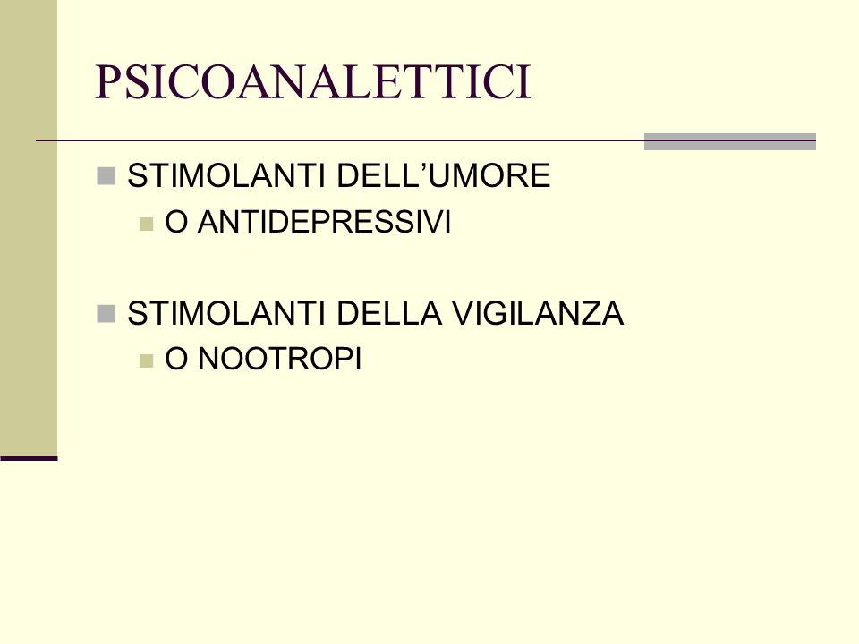 PSICOANALETTICI STIMOLANTI DELL'UMORE STIMOLANTI DELLA VIGILANZA