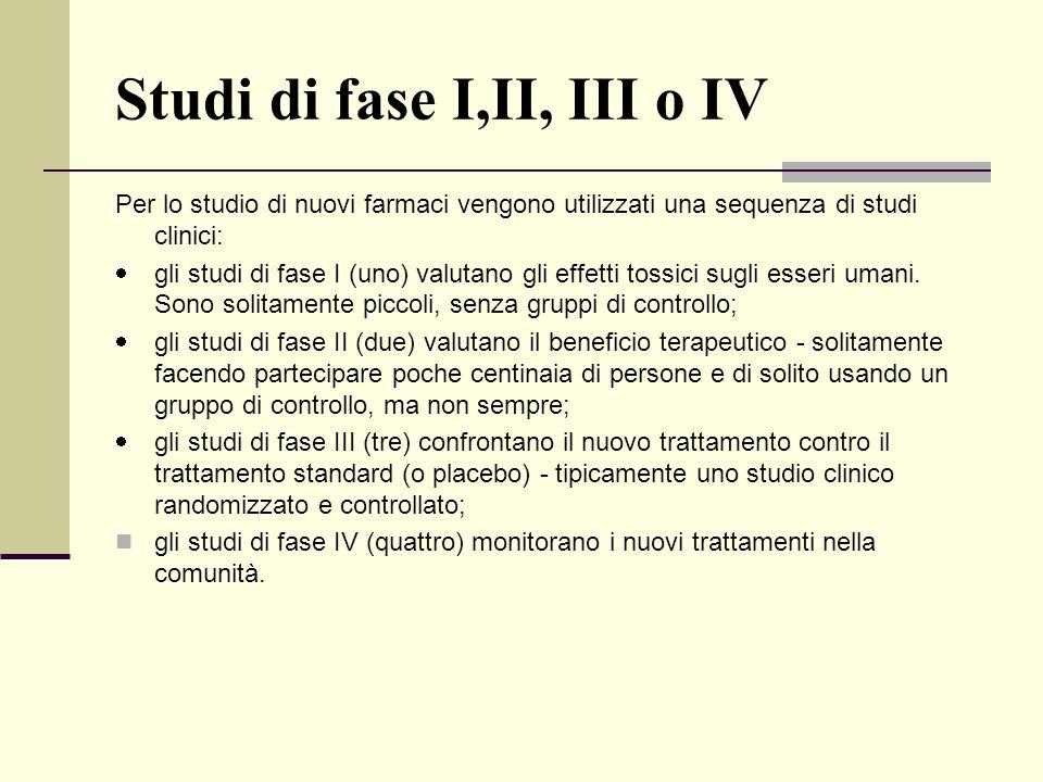 Studi di fase I,II, III o IV