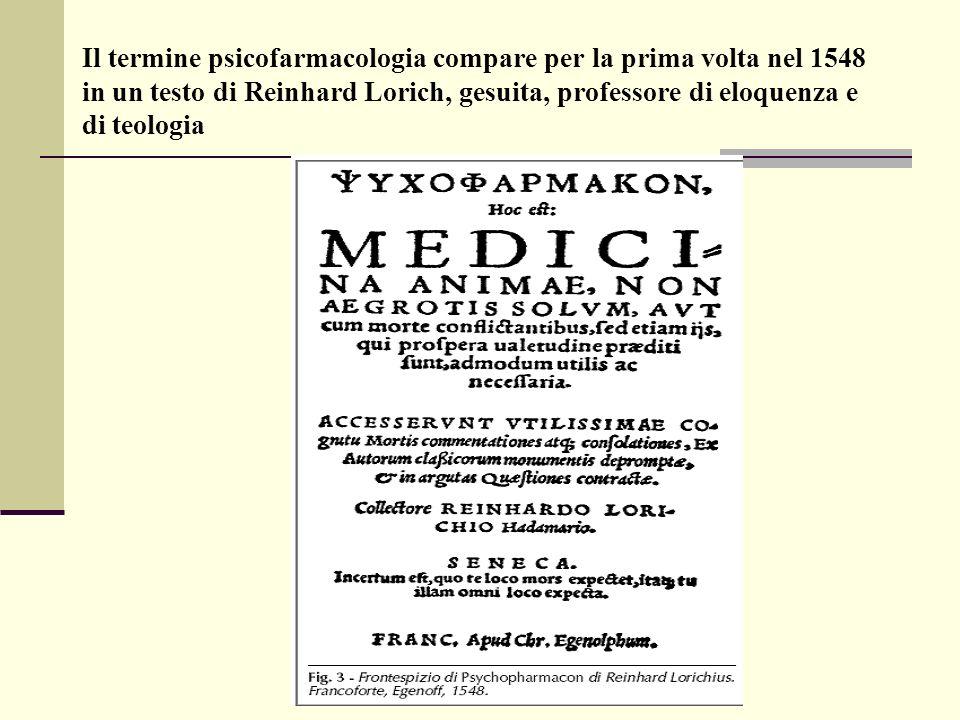 Il termine psicofarmacologia compare per la prima volta nel 1548 in un testo di Reinhard Lorich, gesuita, professore di eloquenza e di teologia
